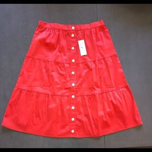 XS Petite Loft Outlet Coral Buttoned Down Skirt